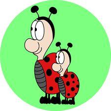 Free Cute Lovely Ladybugs Cartoon Stock Photo - 31474180