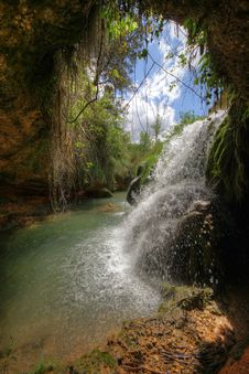 Waterfall In Vinalopo River. HDR Image. Royalty Free Stock Images