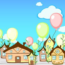 Free Birthday Card With Houses Stock Images - 31475444