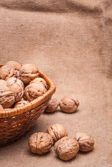 Free Walnuts Close-up On The Sackcloth Background Royalty Free Stock Images - 31481479
