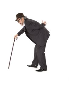 Old Man With A Cane Stock Images