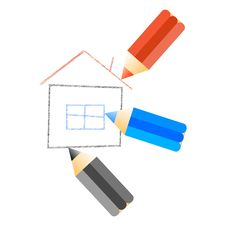 Free Home Draw With Pencils Royalty Free Stock Image - 31491196