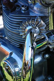 Free Close Up Triumph Engine 750 Royalty Free Stock Image - 3150396