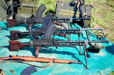 3 Bren Guns 1 Lee Enfield 303 Royalty Free Stock Images