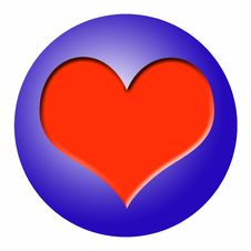 Blue Ball With Red Heart Stock Photo