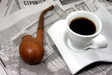 Free Coffee, Newspaper And Pipe Stock Images - 3153234
