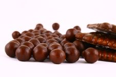 Free Chocolate Sweets Against White Royalty Free Stock Photos - 3153668