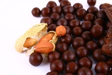 Free Chocolate Sweets Against White Royalty Free Stock Photography - 3153737