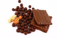 Free Chocolate Sweets Against White Royalty Free Stock Photography - 3153747