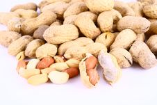 Free Some Peanuts Over White Backgr Royalty Free Stock Photos - 3158608