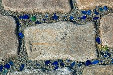 Pavement With Blue And Green Stock Image