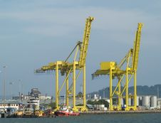 Free Two Container Cranes In A Harb Stock Photo - 3159340