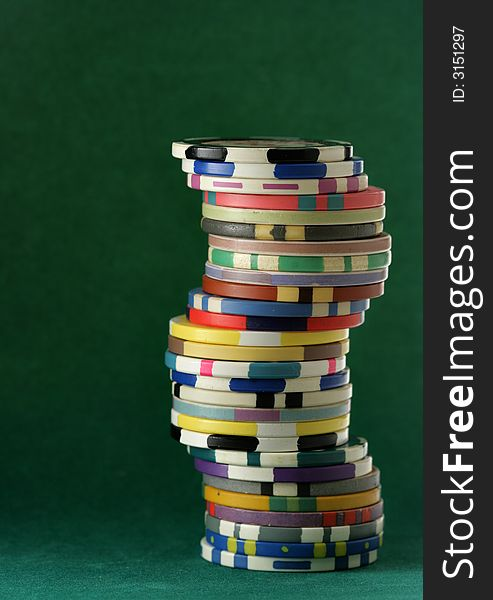 Stack of colorful casino chips