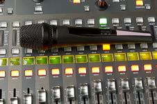 Free Microphone Is On Of The Console Royalty Free Stock Image - 31502506
