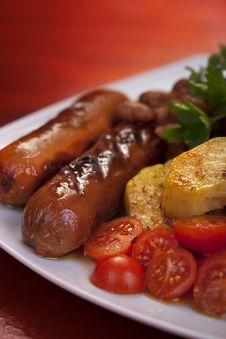 Sausages Served Stock Photos