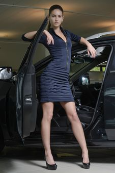 Pretty Woman Driver And Her Car Stock Photography