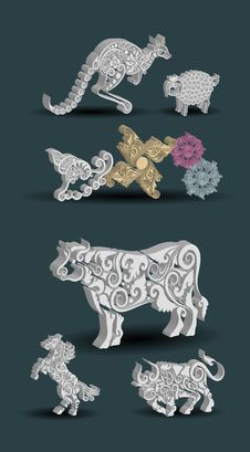 Free Engraving Animal Ornament Decorations. Royalty Free Stock Photography - 31512767
