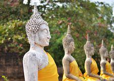 Free Ancient Buddha Statues At Wat Yai Chai Mongkol, Ayutthaya, Thail Stock Images - 31513124