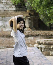Asian Woman At Wat Maheyong Temple. Ayutthaya Province - Thailan Stock Photos