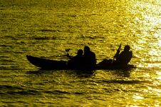 Free Silhouette Of Three Person Kayaking Royalty Free Stock Photos - 31513438