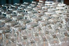 Rows Of Empty Wine Glasses On The Table Royalty Free Stock Images