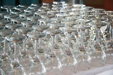 Rows Of Empty Wine Glasses On The Table Stock Photo