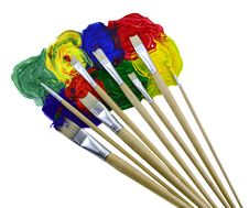 Free Eight Brushes With Paint 2 Royalty Free Stock Image - 31518366