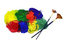 Free Two Brushes With Colorful Mix Royalty Free Stock Photos - 31518438