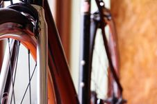 Low-down Shot Of Bicycle Wheels Stock Photography