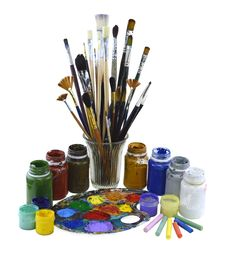 Used Brushes And Paint Isolated Stock Image