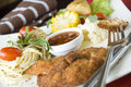 Free Fried Chicken On Silver Fork Royalty Free Stock Image - 31521066