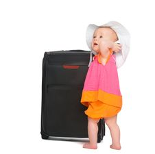 Little Baby Girl With Baggage Suitcase Royalty Free Stock Photography