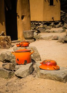 Orange Pots And Pans Royalty Free Stock Image