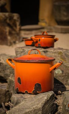 Orange Pots And Pans Stock Photography