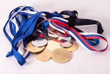 Gold And Silver Medals Stock Images