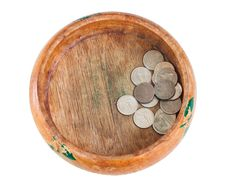 Free The Wooden Bowl With Money Royalty Free Stock Images - 31534089
