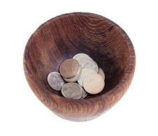 Free The Wooden Bowl With Money Stock Image - 31534191