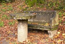 Stone Bench And Table Royalty Free Stock Image