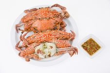Steamed Crabs With Seafood Sauce Royalty Free Stock Images