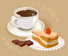 Free Cup Of Coffee And A Cake Royalty Free Stock Photos - 31537918