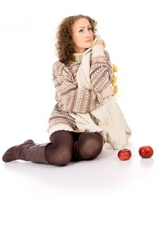 Free Girl Sitting Comfortably And Is Heated Royalty Free Stock Image - 31537996