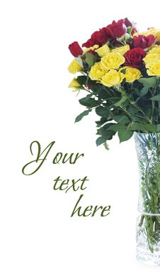 Free Bouquet Of Roses In A Crystal Vase Stock Photo - 31538010