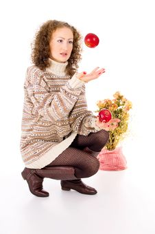 Free Girl In A Sweater And Apples Stock Images - 31538034