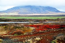 Icelandic Lendscape: Ground And Volcano Stock Photos