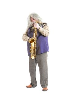Old Hippies Saxophonist Royalty Free Stock Photo