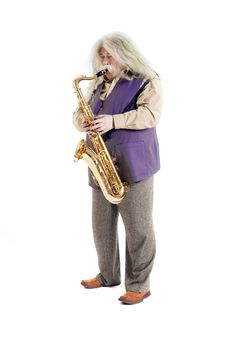 Free Old Hippies Saxophonist Royalty Free Stock Images - 31543119