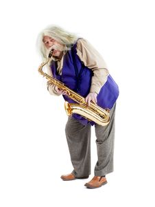 Old Hippies Saxophonist Stock Photos