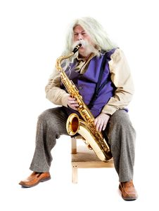 Old Hippies Saxophonist Royalty Free Stock Image