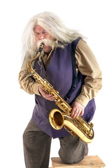 Free Old Hippies Saxophonist Stock Photo - 31543390