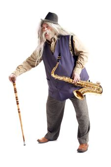Old Hippies Saxophonist Stock Photography